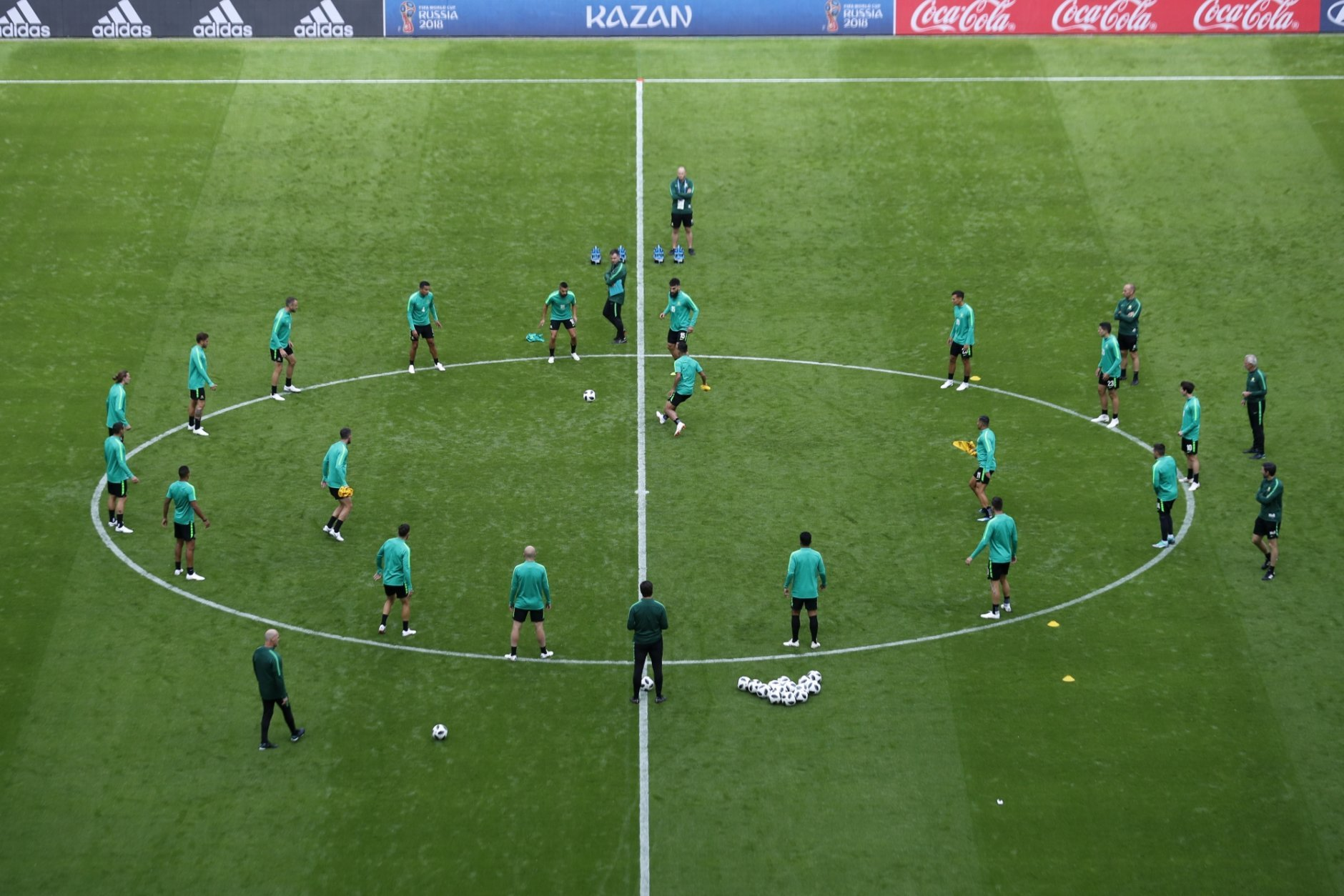 Australia's players train during Australia's official training for the group C match between France and Australia at the 2018 soccer World Cup in the Kazan Arena in Kazan, Russia, Friday, June 15, 2018. (AP Photo/Hassan Ammar)