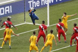 Peru goalkeeper Pedro Gallese catches the ball during the group C match between Australia and Peru, at the 2018 soccer World Cup in the Fisht Stadium in Sochi, Russia, Tuesday, June 26, 2018. (AP Photo/Efrem Lukatsky)