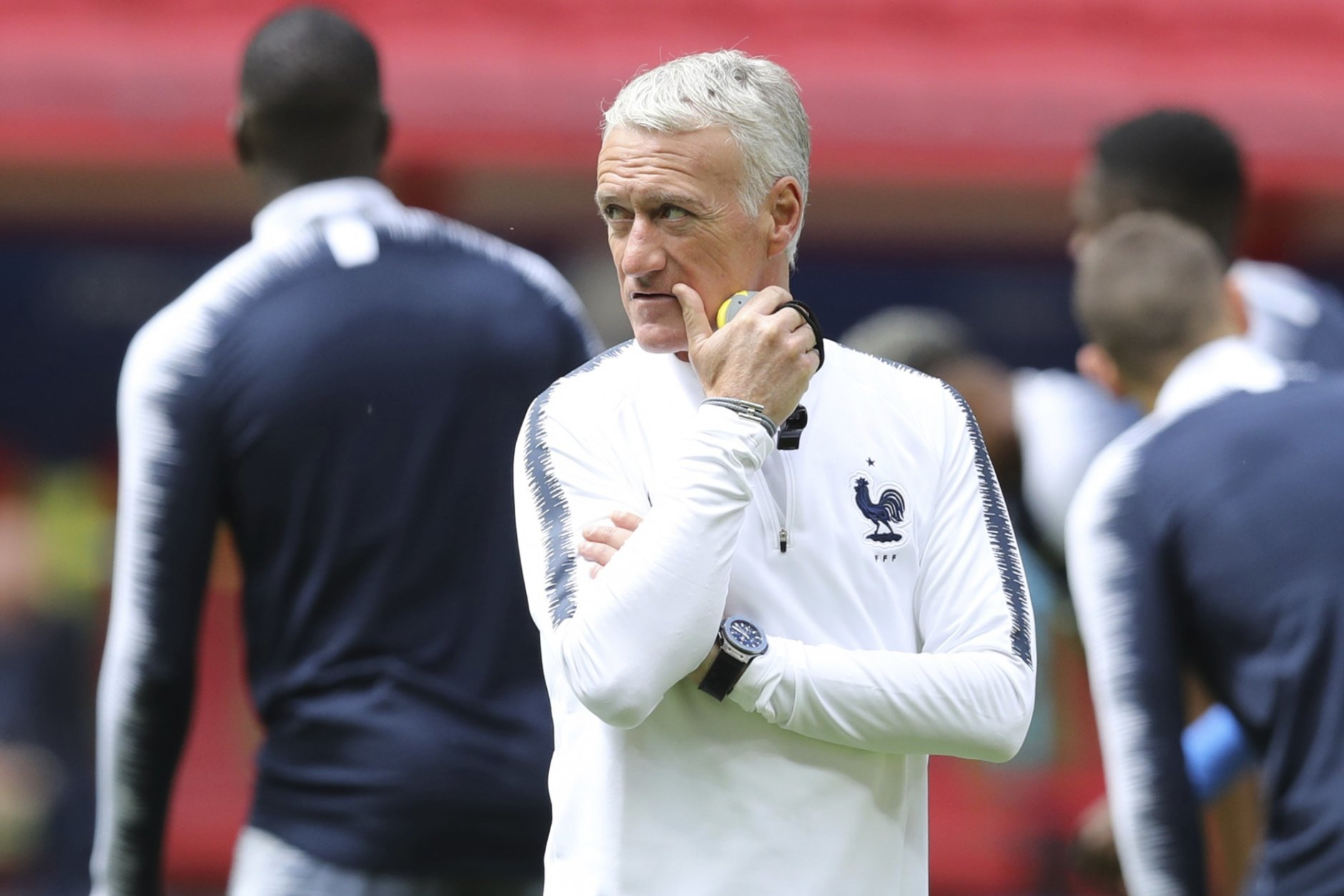 France headcoach Didier Deschamps looks on during France's official training on the eve of the group C match between France and Australia at the 2018 soccer World Cup in the Kazan Arena in Kazan, Russia, Friday, June 15, 2018. (AP Photo/David Vincent)