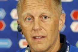 Iceland coach Heimar Hallgrimsson, smile during a press conference after Iceland's official training on the eve of the group D match between Argentina and Iceland at the 2018 soccer World Cup in the Spartak Stadium in Moscow, Russia, Friday, June 15, 2018. (AP Photo/Eduardo Verdugo)