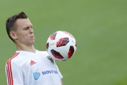 Russia's Denis Cheryshev controls the ball during Russia's official training ahead of the round of 16 match between Russia and Spain at the 2018 soccer World Cup at the Federal Sports Centre Novogorsk, near Moscow, Russia, Saturday, June 30, 2018. (AP Photo/Hassan Ammar)