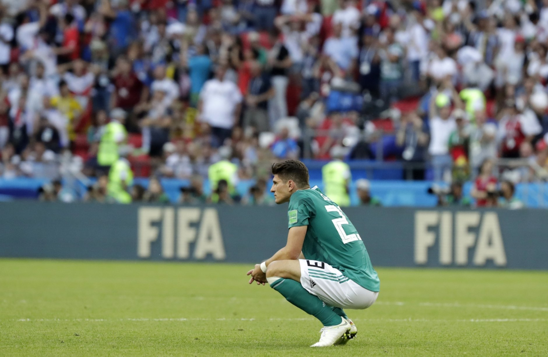 Germany's Mario Gomez on the pitch after the group F match between South Korea and Germany, at the 2018 soccer World Cup in the Kazan Arena in Kazan, Russia, Wednesday, June 27, 2018. (AP Photo/Lee Jin-man)