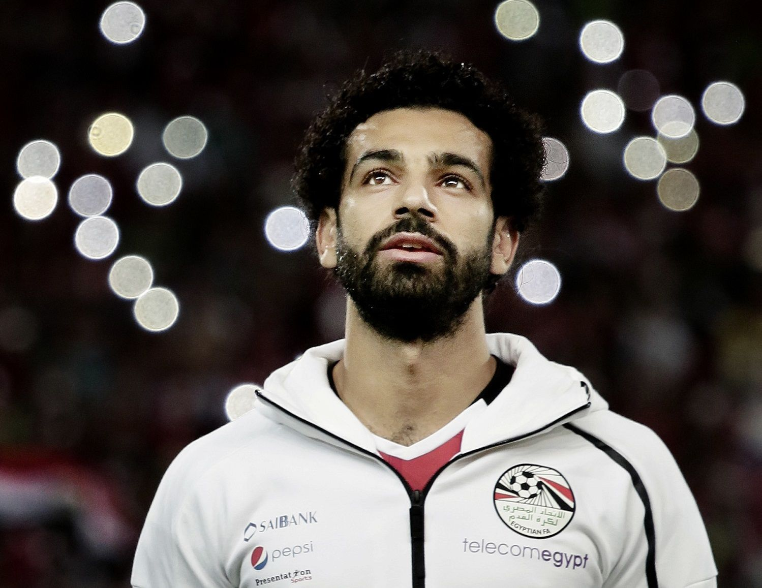 Egypt's Mohamed Salah sings the national anthem before the 2018 World Cup group E qualifying soccer match between Egypt and Congo at the Borg El Arab Stadium in Alexandria, Egypt, Sunday, Oct. 8, 2017. Egypt won 2-1. (AP Photo/Nariman El-Mofty)