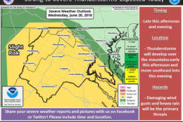 Much of the D.C. area faces only a slight risk of strong to severe thunderstorms, however heavy rain and strong to severe wind is possible. (Courtesy National Weather Service)