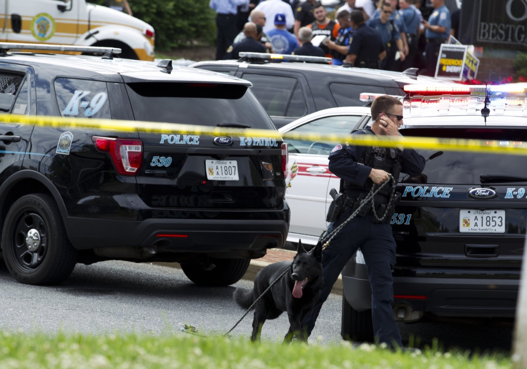 A K-9 police unit works the scene after multiple people were shot at a newspaper office building in Annapolis, Md., Thursday, June 28, 2018. (AP Photo/Jose Luis Magana)