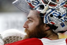 Washington Capitals goaltender Braden Holtby pauses during an NHL hockey practice Wednesday, June 6, 2018, in Las Vegas. The Capitals lead the Vegas Golden Knights 3-1 in the best-of-seven Stanley Cup Finals series. (AP Photo/Ross D. Franklin)