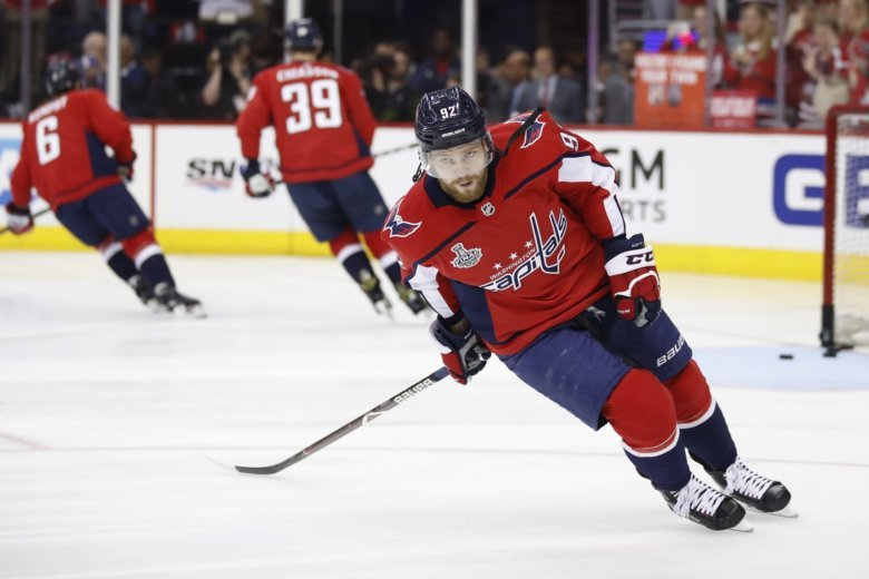 Washington Capitals Forward Evgeny Kuznetsov Of Russia Warms Up Before Game 3 Of The Teams Nhl Hockey Stanley Cup Final Against The Vegas