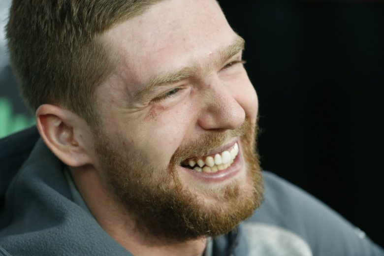 a178543047e Washington Capitals center Evgeny Kuznetsov laughs while speaking with the  media during an NHL hockey media day for the Stanley Cup