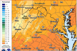Temperatures will reach the upper 80s in most places in the D.C. area. Scattered to isolated showers and thunderstorms are possible on Sunday afternoon and Sunday evening. (Courtesy National Weather Service)