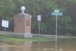 In Upper Marlboro, Maryland, Water Street is closed due to flooding between Maryland Route 4 and Judges Drive. (Courtesy Town of Upper Marlboro via Twitter)