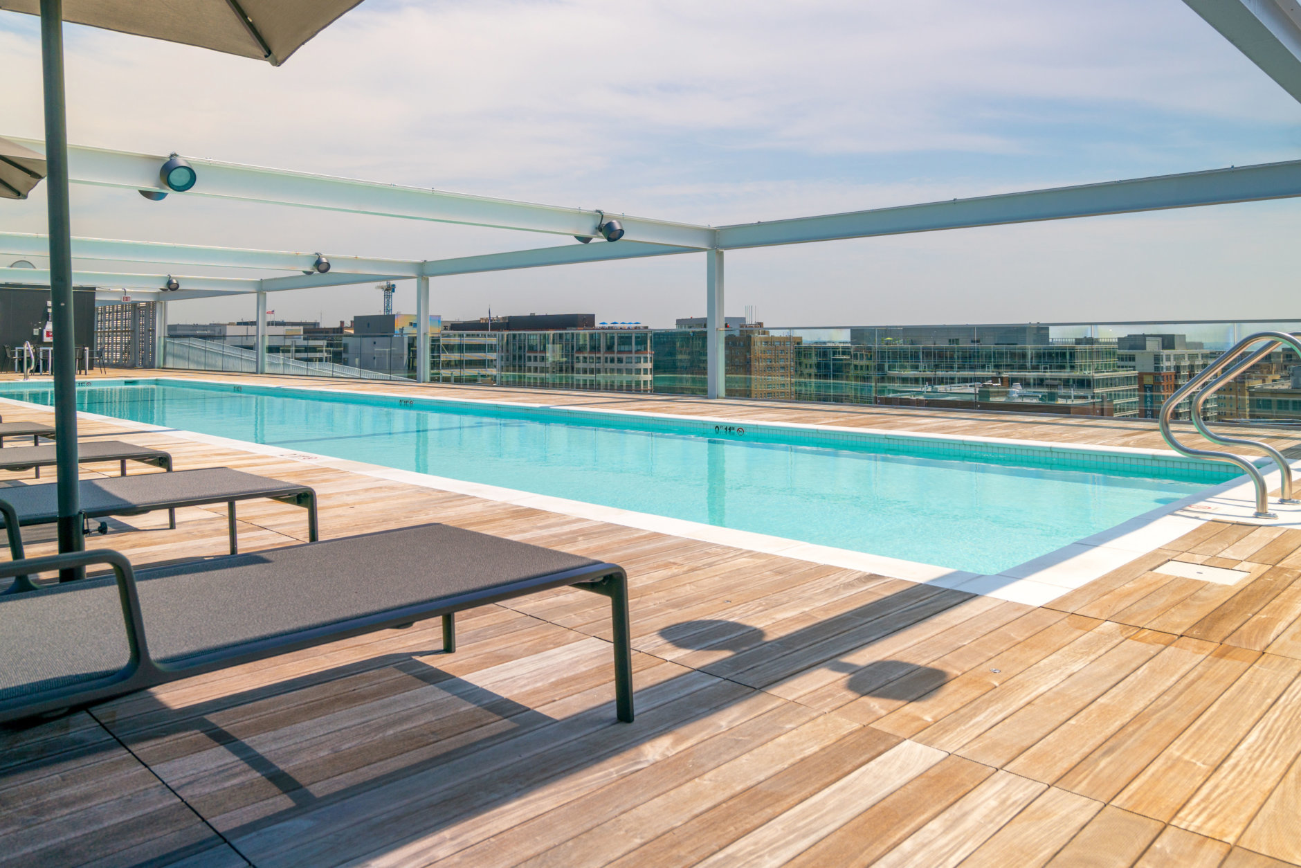 The Apartments at Westlight includes a 25-meter heated rooftop pool, sun deck, fitness center, private club room, business center and underground parking garage. (Courtesy Eastbanc)