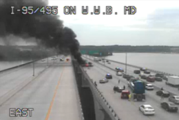 The fire is in the outer loop portion of the bridge. Smoke has shut down traffic on the inner loop. (Courtesy MDOT)