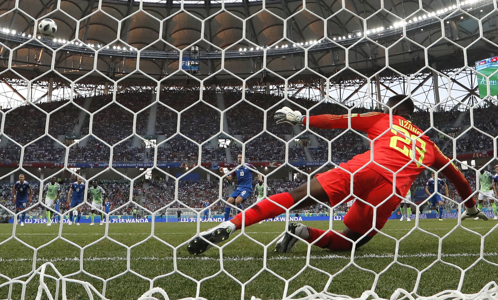 Iceland's Gylfi Sigurdsson kicks the ball over the bar on a penalty during the group D match between Nigeria and Iceland at the 2018 soccer World Cup in the Volgograd Arena in Volgograd, Russia, Friday, June 22, 2018. (AP Photo/Andrew Medichini)