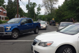 Traffic backed up on East Taylor Run Parkway in Alexandria