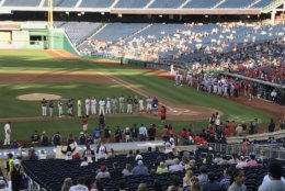 Players are being announced at the Congressional Baseball Game for Charity on Thursday, June 14, 2018. (WTOP/Michelle Basch)