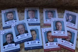 Baseball cards are available of the members of Congress/players of the Congressional Baseball Game for Charity on Thursday, June 14, 2018. (WTOP/Michelle Basch)