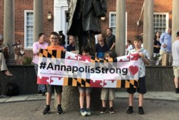Mourners gather in Annapolis on Friday, June 29, for the victims of the Capital Gazette shooting. (Courtesy Kara McGuirk-Allison)