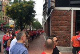 Fans line up outside a Chinatown bar Thursday afternoon. (Courtesy Cody House)