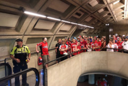 The crowds required metro to limit the number of people on platforms at Smithsonian, but it was manageable a little after 1 p.m. (WTOP/Dave Dildine)