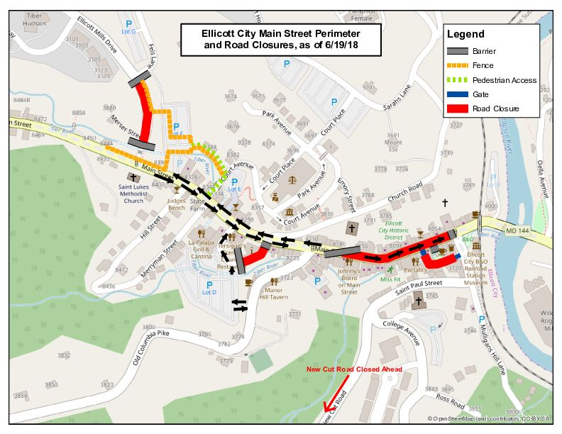 This photo showcases a map of the Ellicott City perimeter and road closures around Main Street. (WTOP/Neal Augenstein)