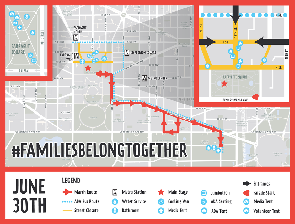 """A view of the route for Saturday's """"Families Belong Together"""" march and rally in downtown D.C"""