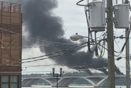 Heavy smoke rises from the accident site Wednesday morning.(Courtesy Shannon Bishop-Green via Twitter)