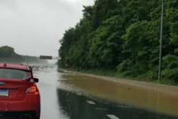 Flooding on the beltway near the Baltimore-Washington Parkway. (Courtesy @ScottOverland via Twitter)