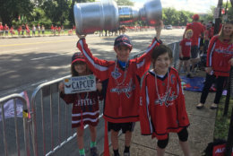 Nicholas shows off his home-made Stanley Cup. (WTOP/Mike Murillo)