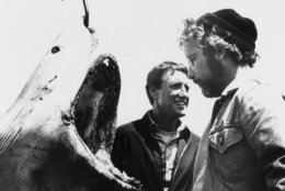 """Roy Scheider, left, and Richard Dreyfuss are shown in a scene from the movie """"Jaws,"""" 1975. (AP Photo)"""