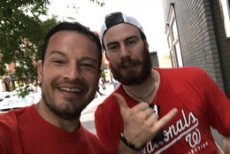 WTOP's Jason Fraley snagged a photo with Philipp Grubauer at Cafe Milano. (WTOP/Jason Fraley)
