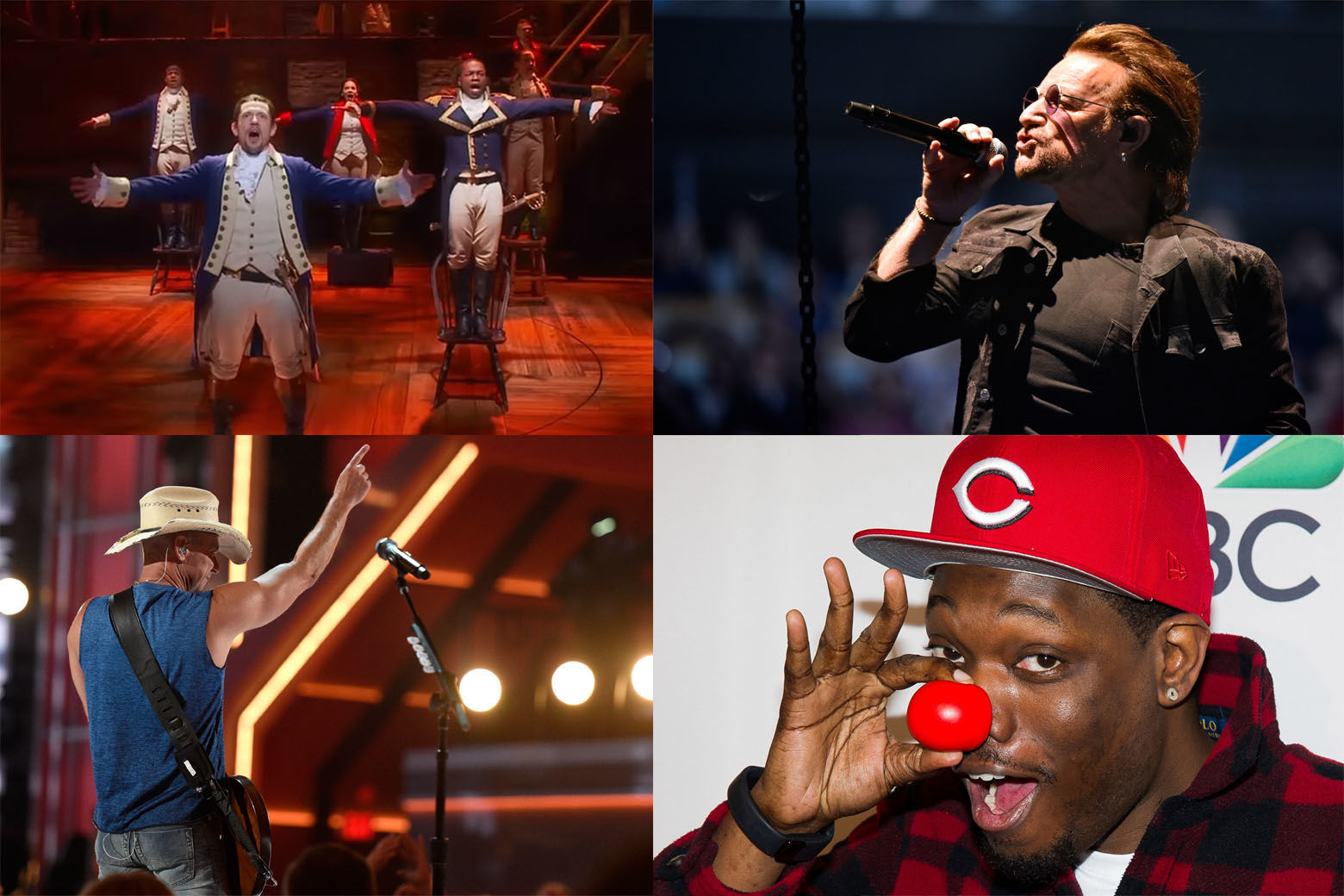 "June brings tons of fun events to the D.C. area, including (clockwise) ""Hamilton,"" U2, Michael Che and Kenny Chesney. (WTOP collage via AP, YouTube)"