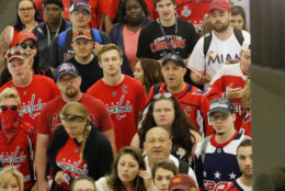 People wait on the platform to use the escalator as they begin to exit the National Archives Metro Subway station and head towards the Washington Capitals victory celebration. (AP Photo/Pablo Martinez Monsivais)