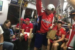 A Red Line train toward Shady Grove is crowded as Caps fans make their way home on Tuesday, June 12, 2018. (WTOP/Mike Murillo)