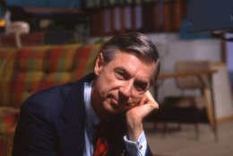 """This image released by Focus Features shows Fred Rogers on the set of his show """"Mr. Rogers Neighborhood"""" from the film, """"Won't You Be My Neighbor."""" (Jim Judkis/Focus Features via AP)"""