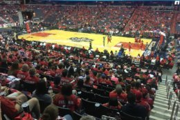 A good-size crowd was already inside Capital One Arena during the Mystics game, in anticipation of a Game 5 Caps watch party. (WTOP/Noah Frank)