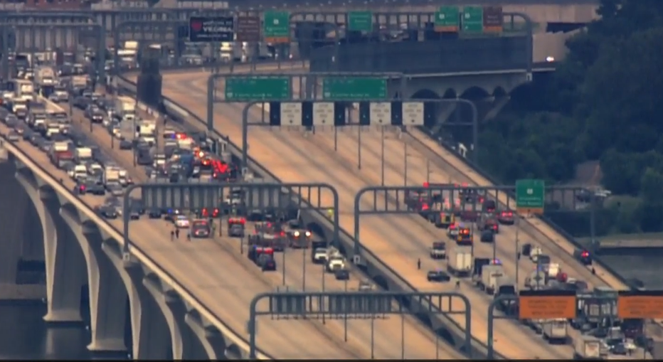 All lanes were blocked on the Wilson Bridge Wednesday. (Courtesy NBC Washington)