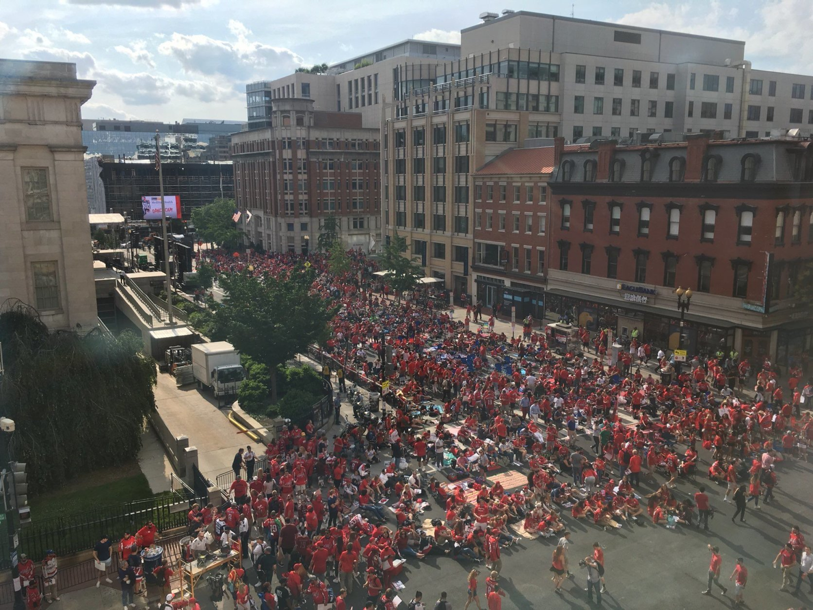 The view of Seventh and G streets from the 400 level of Capital One Arena. (WTOP/Noah Frank)