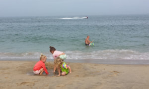 kids on the beach in Ocean City