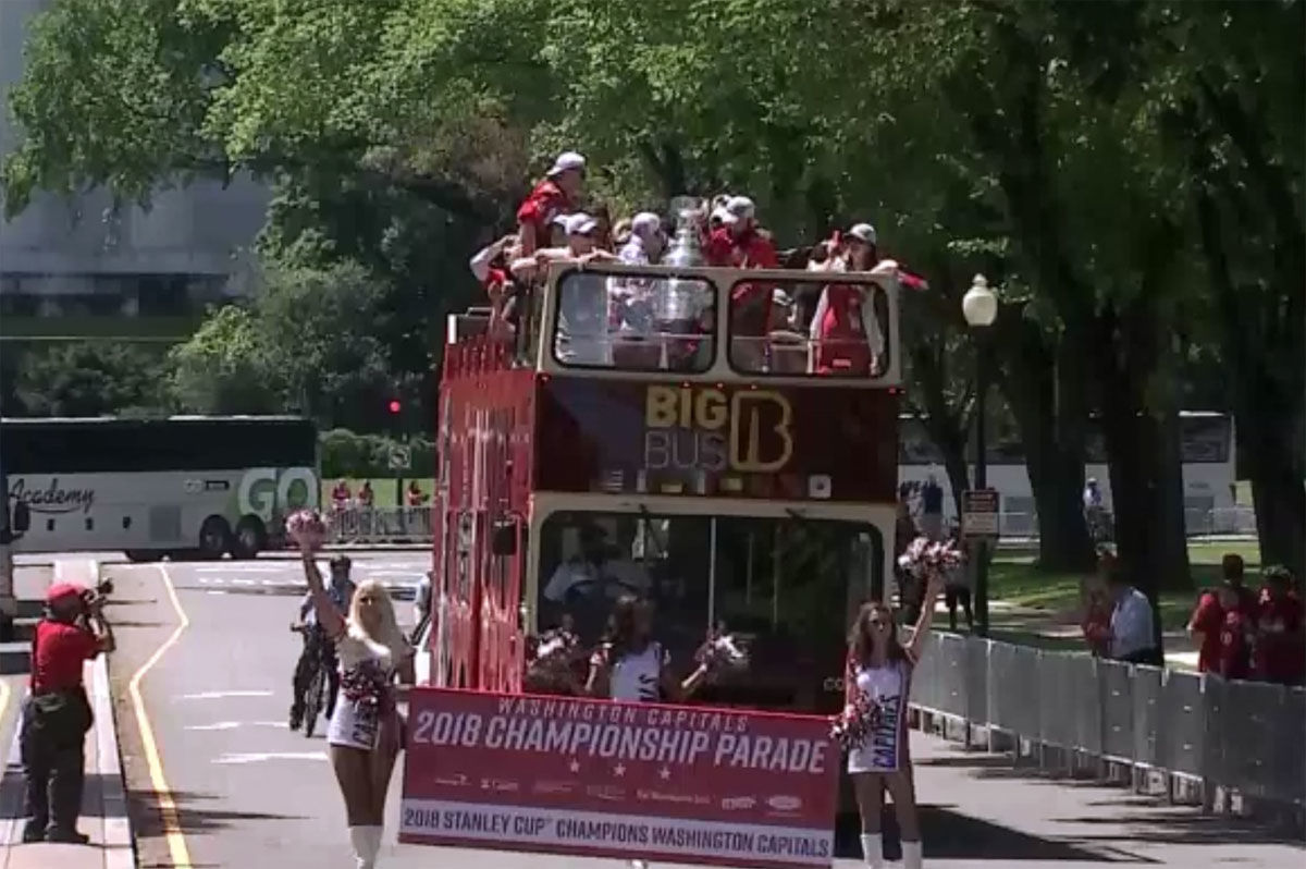 The Stanley Cup champs make their way through Constitution Avenue during the parade. (Screenshot via livestream)