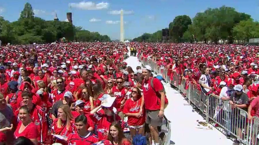 Caps fans gather on the National Mall in D.C. for the rally. (Screenshot via NBC Washington livestream)