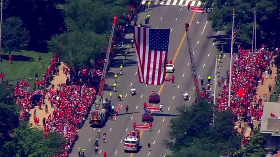 The parade is underway. (Screenshot via NBC Washington livestream)
