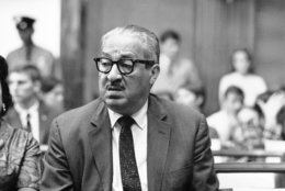 Thurgood Marshall, solicitor general of the U.S., is seen at a Senate hearing on his fitness to be appointed to the U.S. Supreme Court, July 19, 1967, in Washington.  (AP Photo/John Rous)