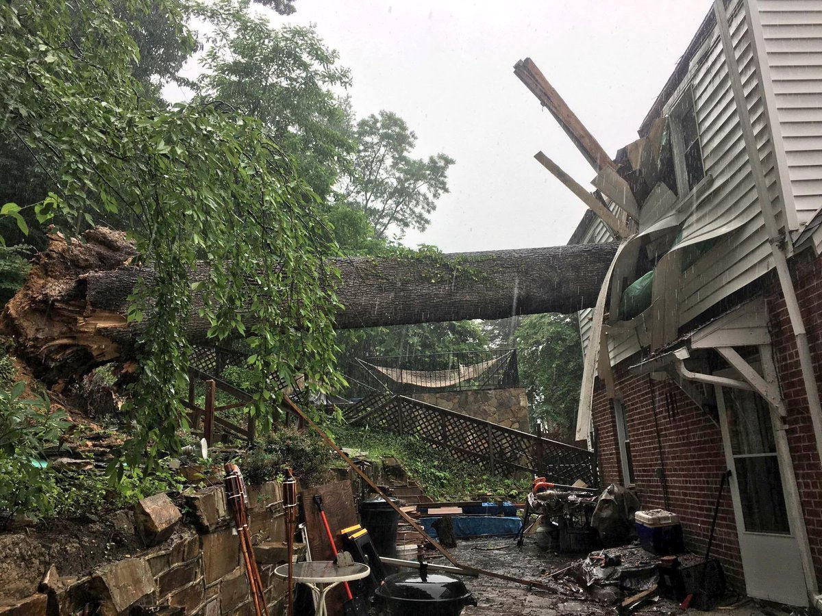 An arborist from the U.S. National Arboretum says that trees falling down, like this one that fell into a home in D.C. in the 3400 block of Texas Avenue in June, could happen even more frequently. (Courtesy DC Fire and EMS via Twitter)