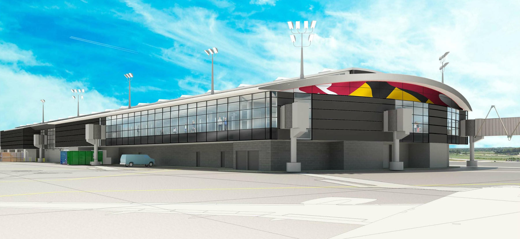 Renderings of the proposed expansion at BWI Marshall's Concourse A. The work will accommodate Southwest Airlines' expansion and allow for the construction of a new baggage-handling system. (Courtesy BWI Marshall Airport)