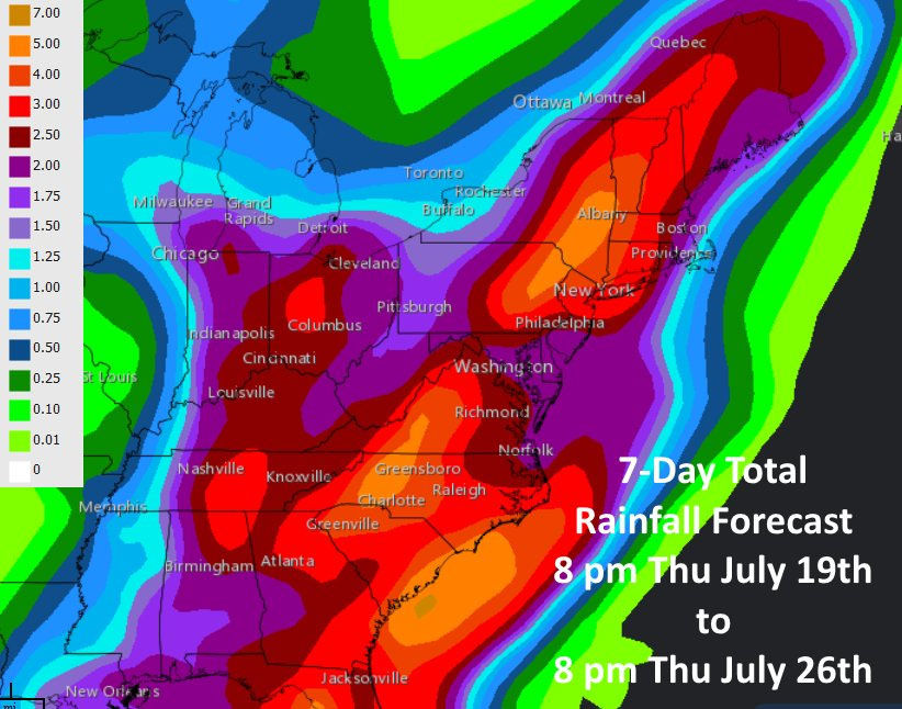A look at the total rainfall forecast for the next seven days. (Courtesy National Weather Service)