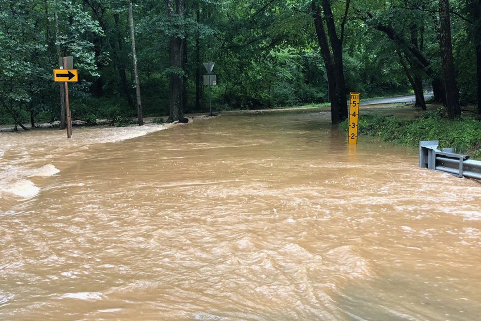 Flooded Fairfax County, Virginia, road