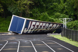 The EF-0 tornado that briefly touched down near Thomas Jefferson High School in Licnolnia, Virginia, area also lofted a shipping container over 100 yards. (WTOP/Dave Dildine)