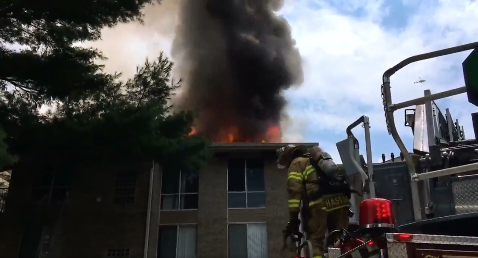 A two-alarm fire engulfs an apartment building on Edmonston Road in Greenbelt, Maryland. (Courtesy Mark Brady/Prince George's County Fire)