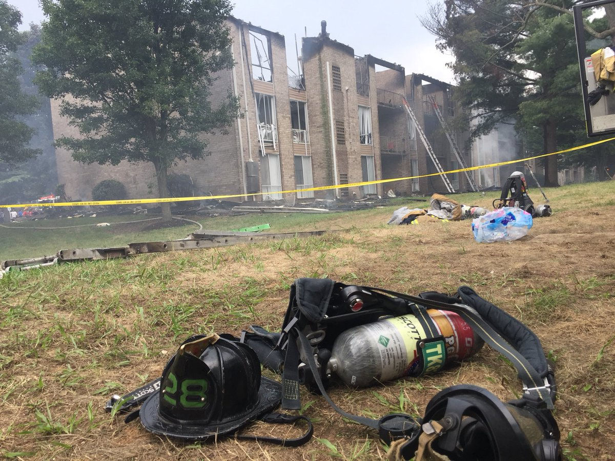 A fire gutted 11 apartments in the Franklin Park complex in Greenbelt. Nine adults and five children were displaced. July 27, 2018. (WTOP/Kristi King)