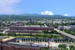 View of the Amoskeag Manufacturing mills in Manchester, New Hampshire.